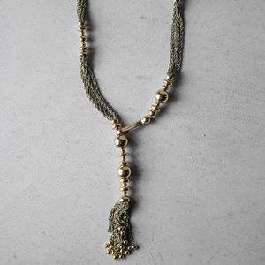 Stella & Dot Bianca tassel necklace gold